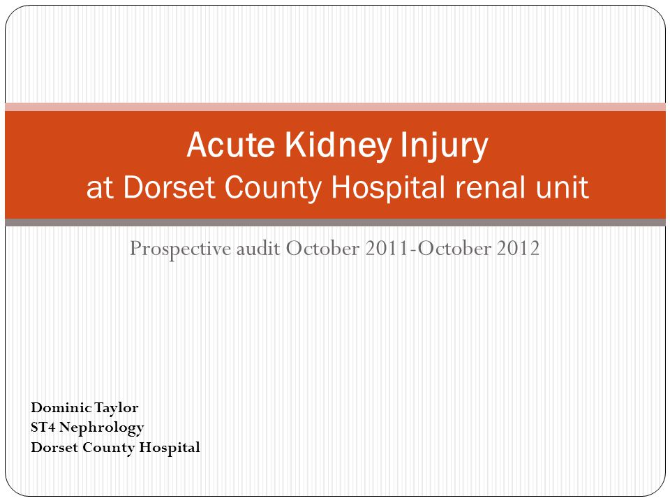 NCEPOD: Adding insult to Injury (2009) Only 50% of AKI care considered good Poor assessment of risk factors Appropriate investigations (Ultrasound, urine dip) not always performed Senior review within 12 hours recommended Renal referrals were delayed in 20% Timely, appropriate specialist advice and transfer needed.