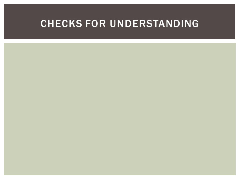 CHECKS FOR UNDERSTANDING