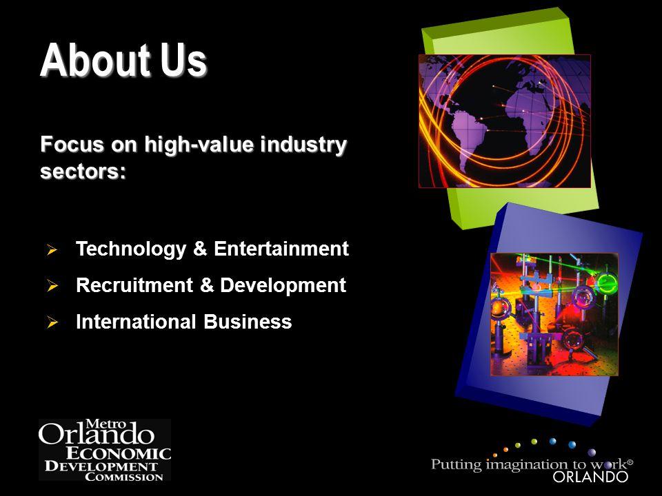 Focus on high-value industry sectors:  Technology & Entertainment  Recruitment & Development  International Business