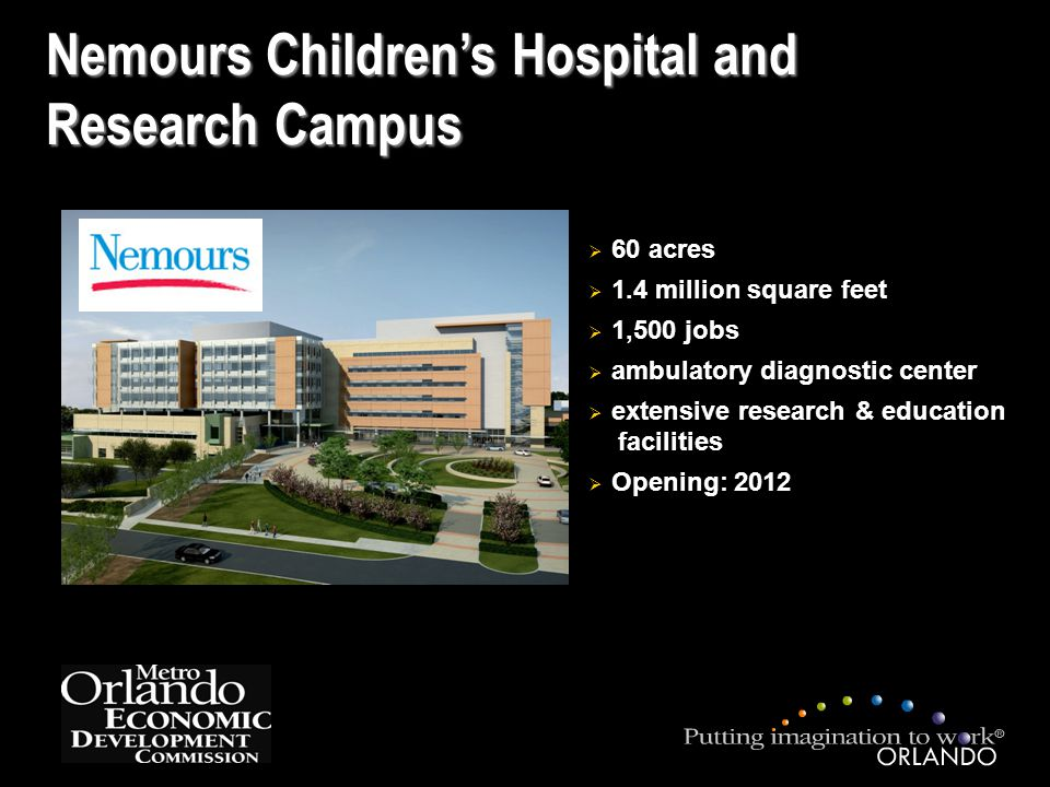 Nemours Children's Hospital and Research Campus  60 acres  1.4 million square feet  1,500 jobs  ambulatory diagnostic center  extensive research & education facilities  Opening: 2012