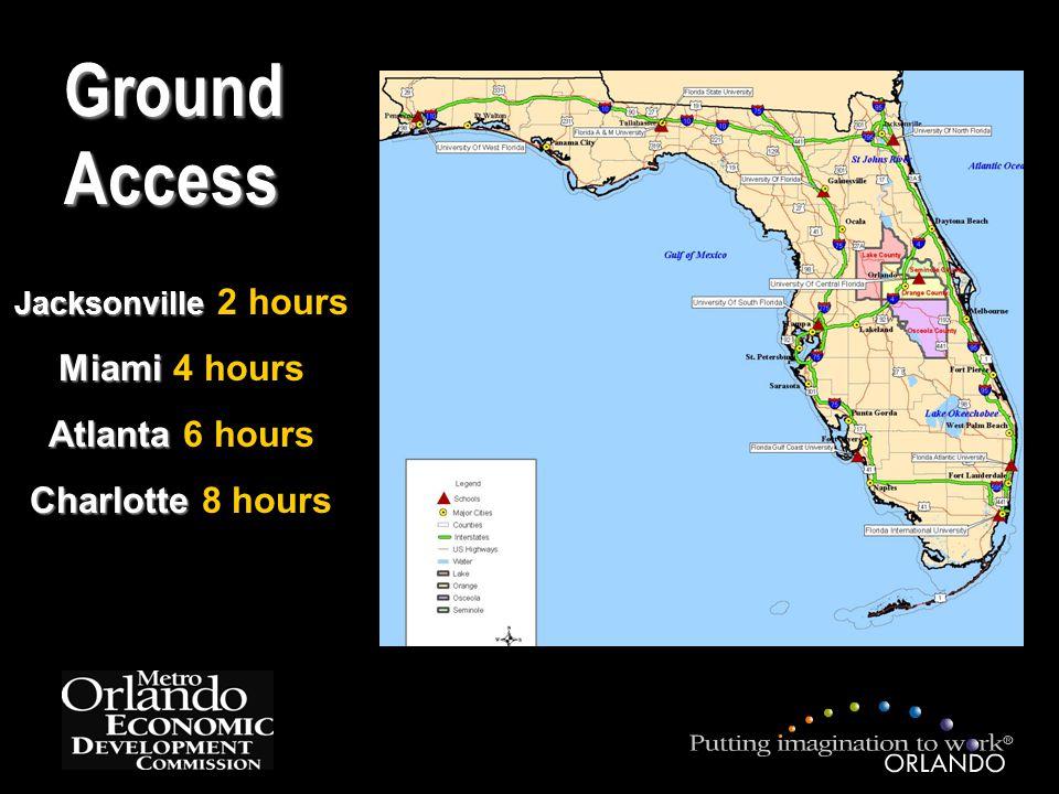 Ground Access Jacksonville Jacksonville 2 hours Miami Miami 4 hours Atlanta Atlanta 6 hours Charlotte Charlotte 8 hours