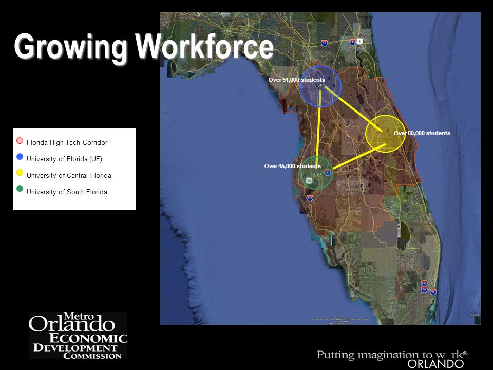 Florida High Tech Corridor University of Florida (UF) University of Central Florida University of South Florida Growing Workforce Over 50,000 students Over 45,000 students Over 51,000 students