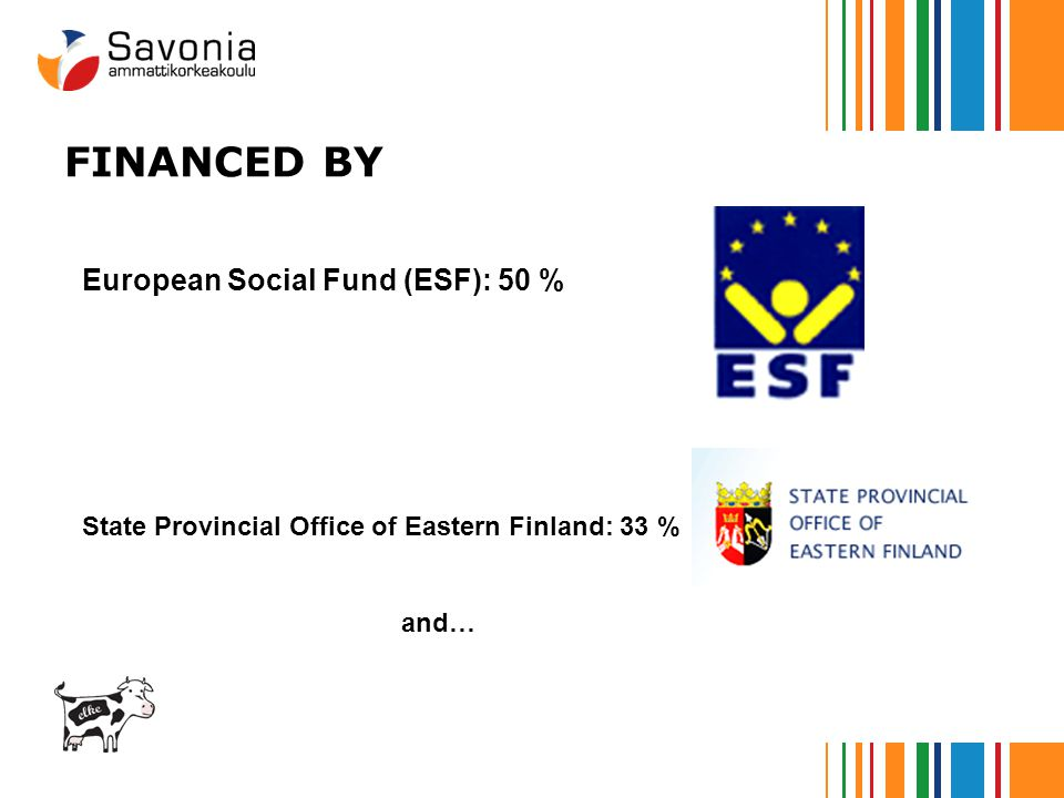 European Social Fund (ESF): 50 % State Provincial Office of Eastern Finland: 33 % and… FINANCED BY