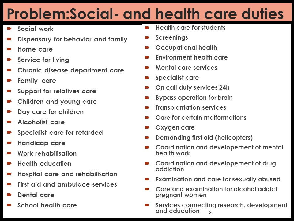 Problem:Social- and health care duties  Social work  Dispensary for behavior and family  Home care  Service for living  Chronic disease departmen