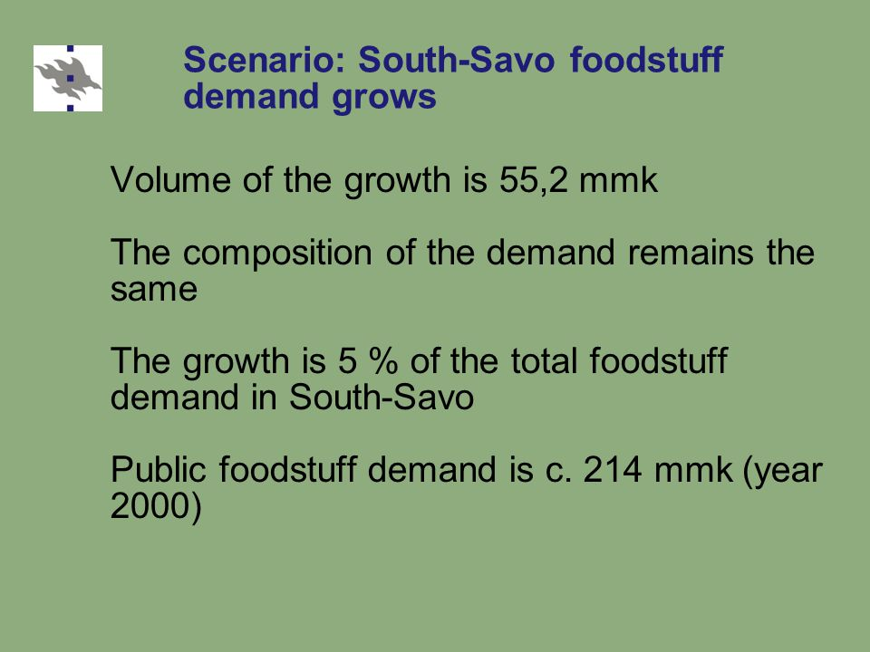 Scenario: South-Savo foodstuff demand grows Volume of the growth is 55,2 mmk The composition of the demand remains the same The growth is 5 % of the total foodstuff demand in South-Savo Public foodstuff demand is c.