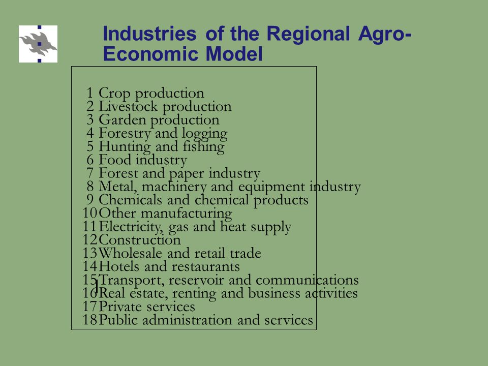 Industries of the Regional Agro- Economic Model 1Crop production 2Livestock production 3Garden production 4Forestry and logging 5 6Food industry 7Fore