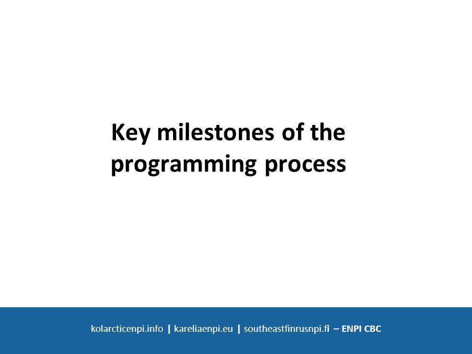 SOUTH-EAST FINLAND - RUSSIA ENPI CBC 2007 - 2013 kolarcticenpi.info | kareliaenpi.eu | southeastfinrusnpi.fi – ENPI CBC Key milestones of the programming process