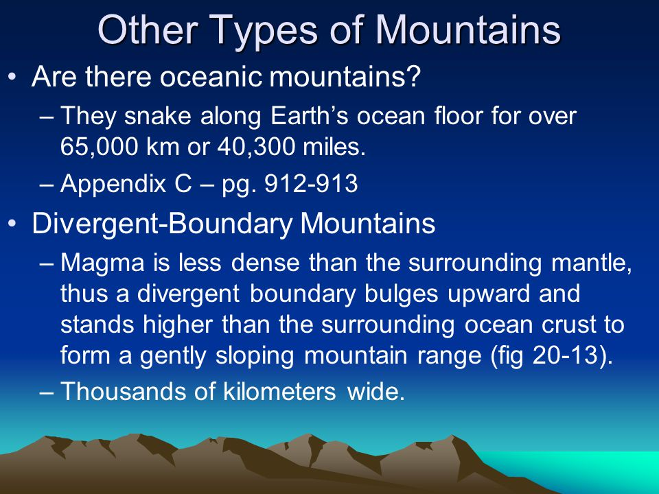 Other Types of Mountains Are there oceanic mountains.