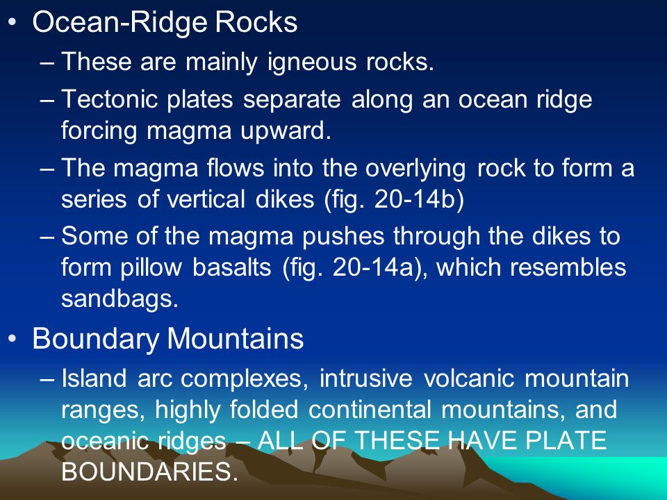Ocean-Ridge Rocks –These are mainly igneous rocks.