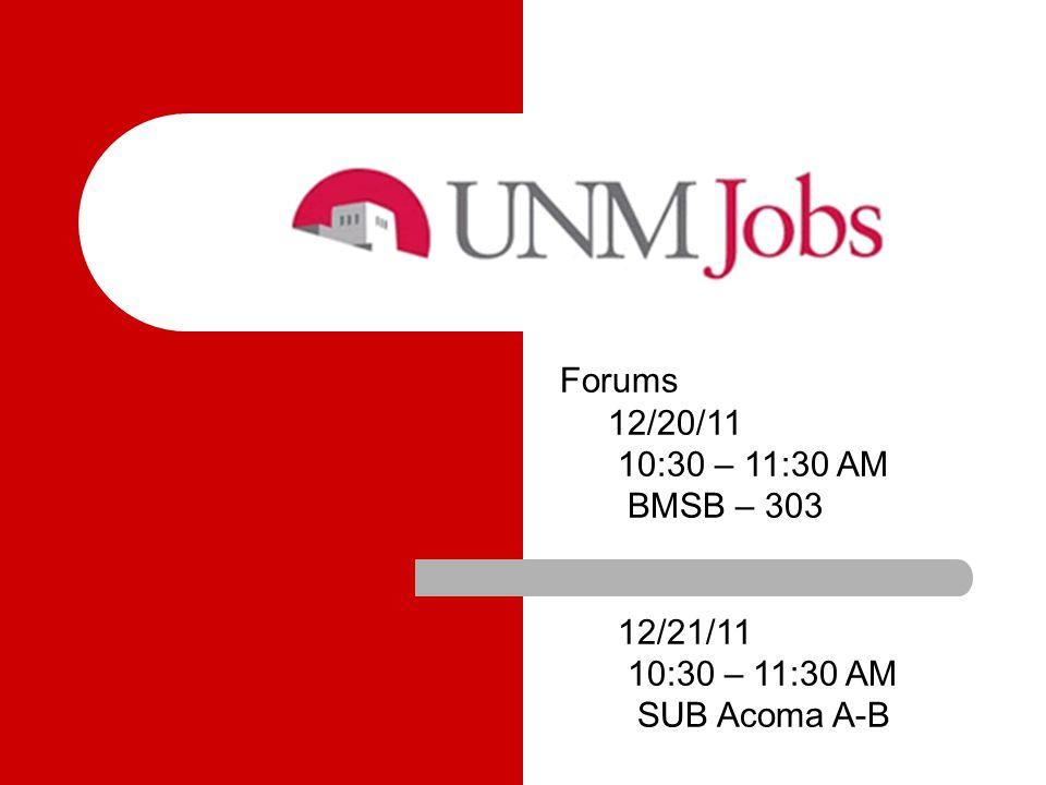 Dates for January Forums Tues, January 10, 2012 – 1:30-2:30 Forum I SUB – Santa Ana A-B Weds, January 11, 2012 - 10:30-11:30 Forum I BMSB - 303 Tues, January 24, 2012 - 10:30- 11:30 Forum II BMSB – 303 Thurs, January 26, 2012 - 1:30 - 2:30 Forum II SUB Fiesta A-B