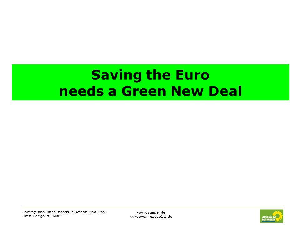 Saving the Euro needs a Green New Deal Sven Giegold, MdEP www.gruene.de www.sven-giegold.de Saving the Euro needs a Green New Deal