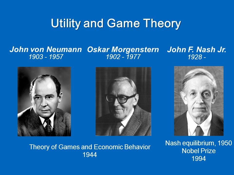 Utility and Game Theory John von Neumann 1903 - 1957 Theory of Games and Economic Behavior 1944 John F.
