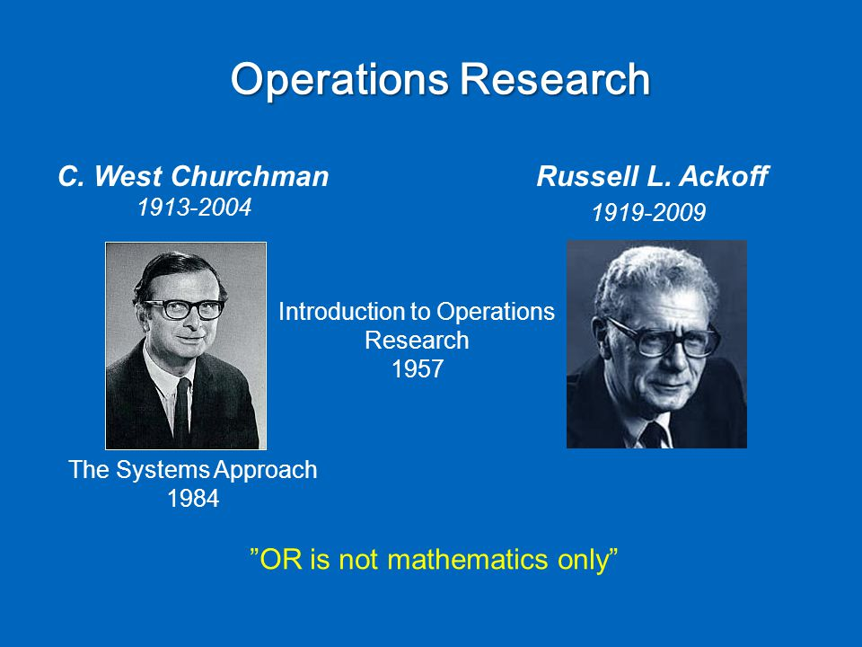 Operations Research Introduction to Operations Research 1957 C.
