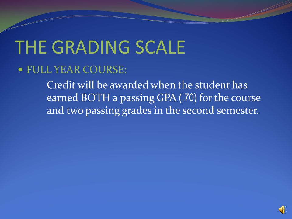 THE GRADING SCALE Q1A-3.740%1.48 Q2A4.040%1.60 E1C-1.720%.34 GPA3.42 CREDIT AWARDED Q1F040%0 Q2D1.040%.40 E1D1.020%.20 GPA.60 NO CREDIT AWARDED EXAMPLE Convert letter grades into GPA # for the calculation Q1 (.40) + Q2 (.40) + E1 (.20) = Semester Grade Credit/No Credit NEEDS a.70 GPA