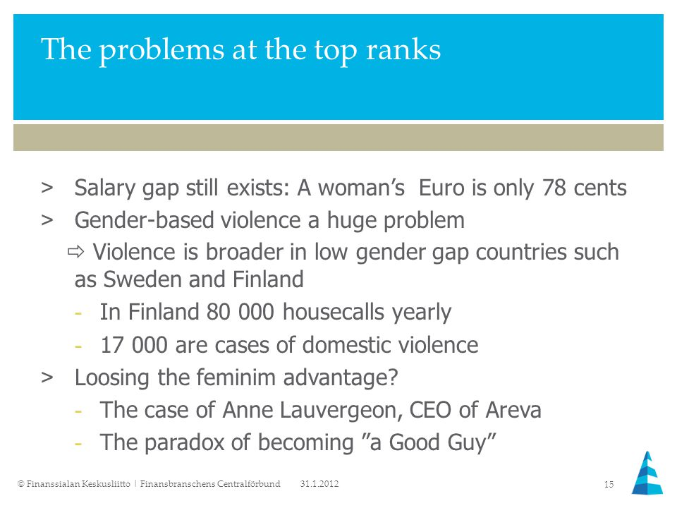 The problems at the top ranks >Salary gap still exists: A woman's Euro is only 78 cents >Gender-based violence a huge problem  Violence is broader in low gender gap countries such as Sweden and Finland -In Finland 80 000 housecalls yearly -17 000 are cases of domestic violence >Loosing the feminim advantage.
