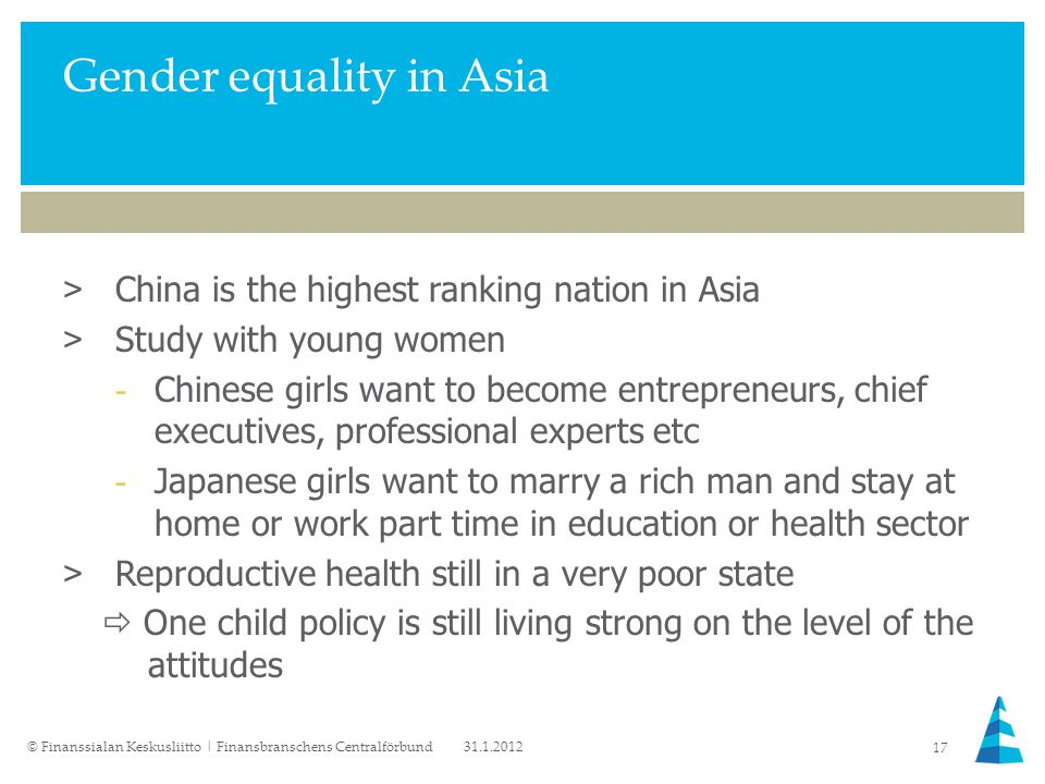 Gender equality in Asia >China is the highest ranking nation in Asia >Study with young women -Chinese girls want to become entrepreneurs, chief executives, professional experts etc -Japanese girls want to marry a rich man and stay at home or work part time in education or health sector >Reproductive health still in a very poor state  One child policy is still living strong on the level of the attitudes 31.1.2012© Finanssialan Keskusliitto | Finansbranschens Centralförbund 17