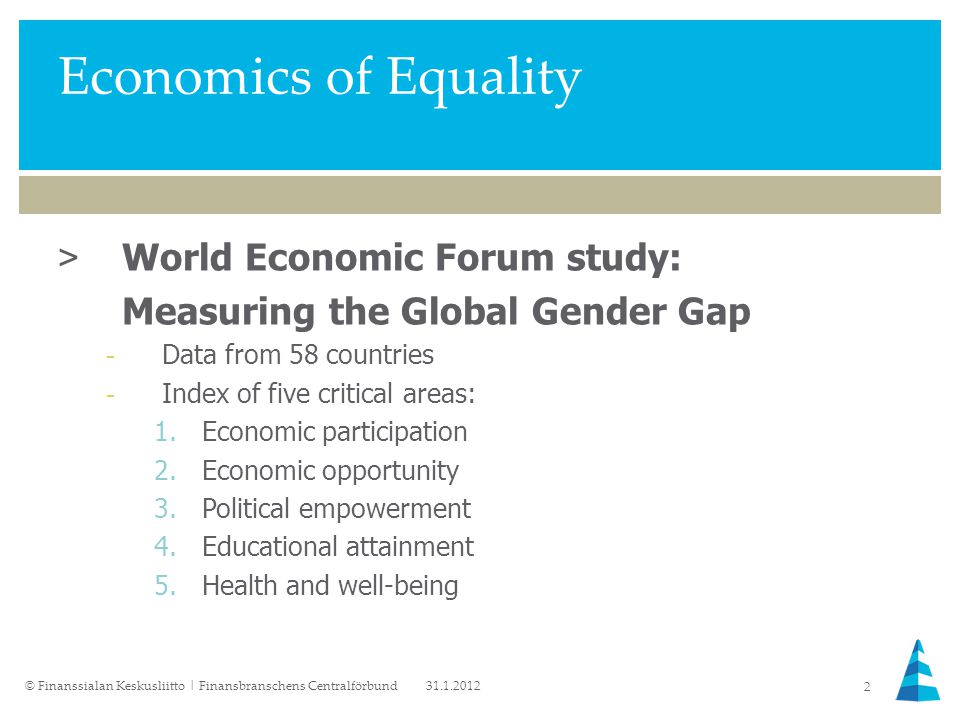 Economics of Equality >World Economic Forum study: Measuring the Global Gender Gap -Data from 58 countries -Index of five critical areas: 1.Economic participation 2.Economic opportunity 3.Political empowerment 4.Educational attainment 5.Health and well-being 31.1.2012© Finanssialan Keskusliitto | Finansbranschens Centralförbund 2