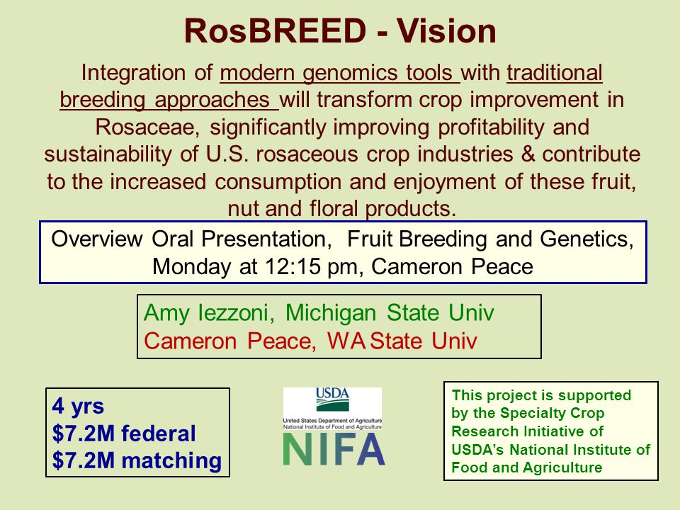 Integration of modern genomics tools with traditional breeding approaches will transform crop improvement in Rosaceae, significantly improving profitability and sustainability of U.S.