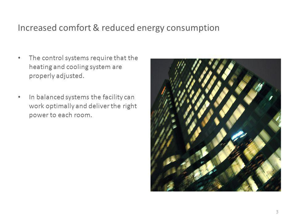 Increased comfort & reduced energy consumption The control systems require that the heating and cooling system are properly adjusted. In balanced syst