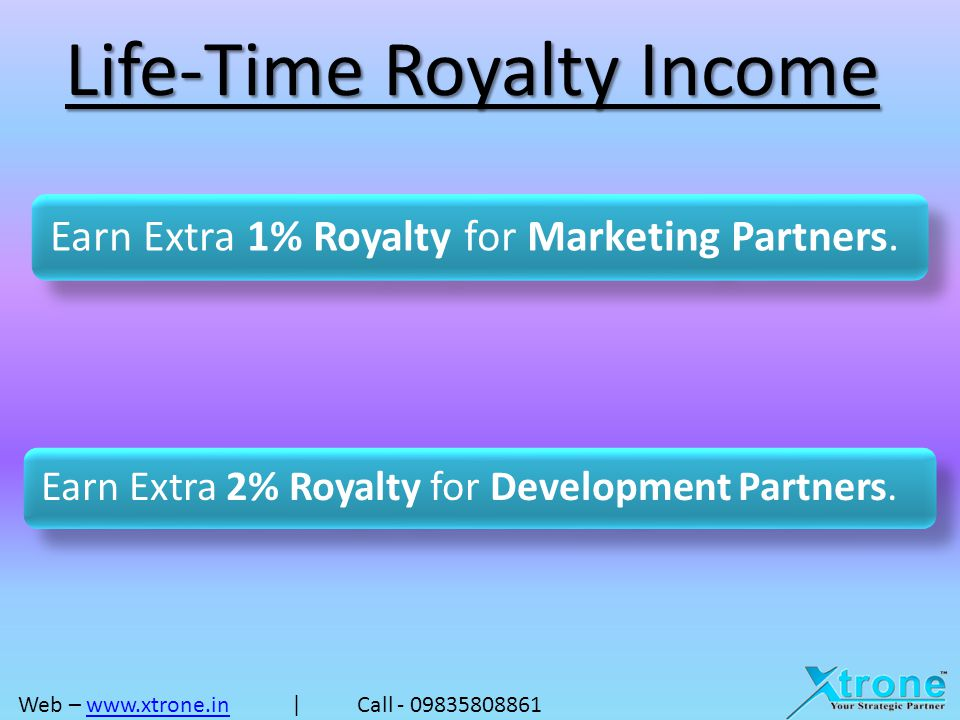 Earn as a Partner Total Volume20%30%50% 50,000/-10,000/-15,000/-25,000/- 1,00,000/-20,000/-30,000/-50,000/- 2,00,000/-40,000/-60,000/-1,00,000/- 5,00,000/-1,00,000/-1,50,000/-2,50,000/- 10,00,000/-2,00,000/-3,00,000/-5,00,000/- 18,50,000/- 3,70,000/-5,55,000/- 9,25,000/- Web – www.xtrone.in | Call - 09835808861www.xtrone.in