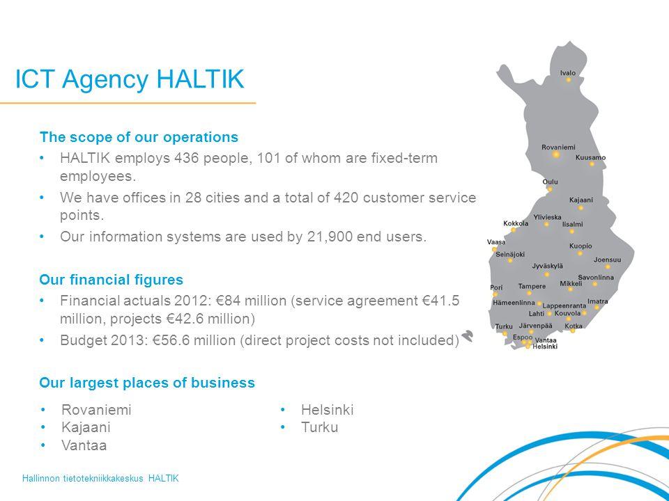 ICT Agency HALTIK Hallinnon tietotekniikkakeskus HALTIK The scope of our operations HALTIK employs 436 people, 101 of whom are fixed-term employees. W