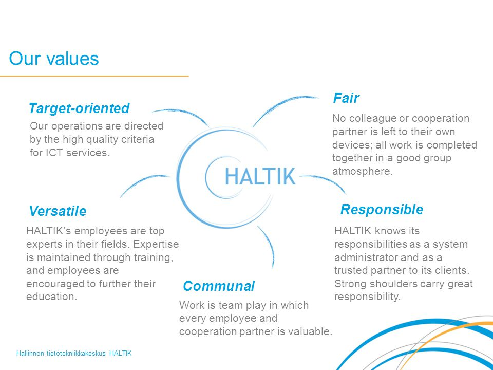 Our values Hallinnon tietotekniikkakeskus HALTIK No colleague or cooperation partner is left to their own devices; all work is completed together in a good group atmosphere.