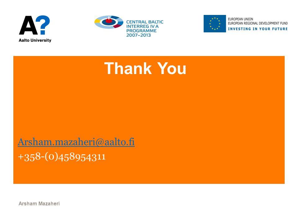 Thank You Arsham.mazaheri@aalto.fi +358-(0)458954311 Arsham Mazaheri