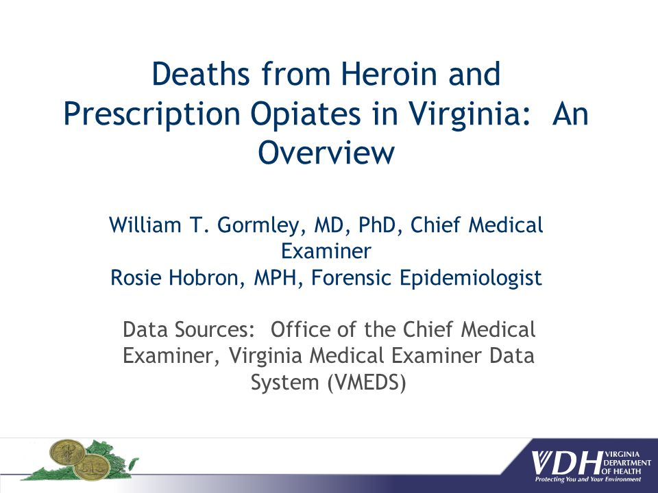 Summary Heroin under-represented Heroin is Morphine Pre-drug Diagnosis of Heroin COD 6-Acetyl Morphine Circumstances Opiates – prescription vs.