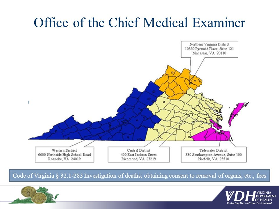 Office of the Chief Medical Examiner Code of Virginia § 32.1-283 Investigation of deaths: obtaining consent to removal of organs, etc.; fees