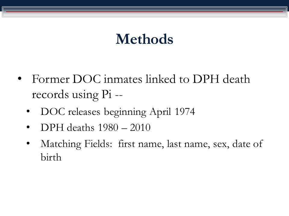 Methods Former DOC inmates linked to DPH death records using Pi -- DOC releases beginning April 1974 DPH deaths 1980 – 2010 Matching Fields: first name, last name, sex, date of birth