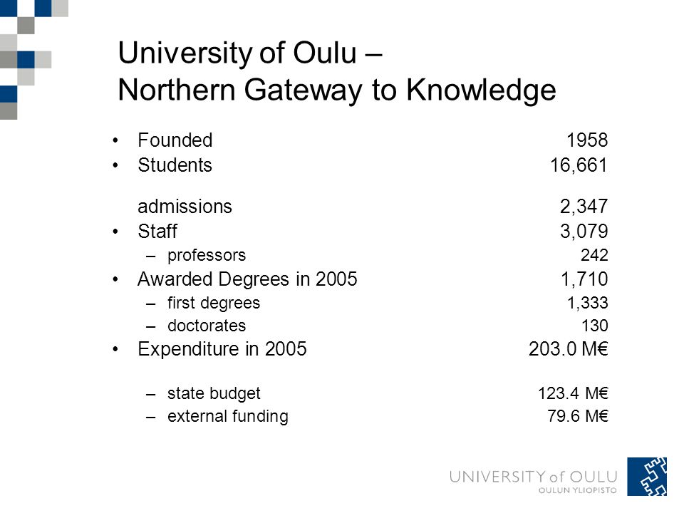University of Oulu – Northern Gateway to Knowledge Founded 1958 Students 16,661 admissions 2,347 Staff 3,079 –professors 242 Awarded Degrees in 20051,710 –first degrees 1,333 –doctorates 130 Expenditure in 2005203.0 M€ –state budget 123.4 M€ –external funding 79.6 M€