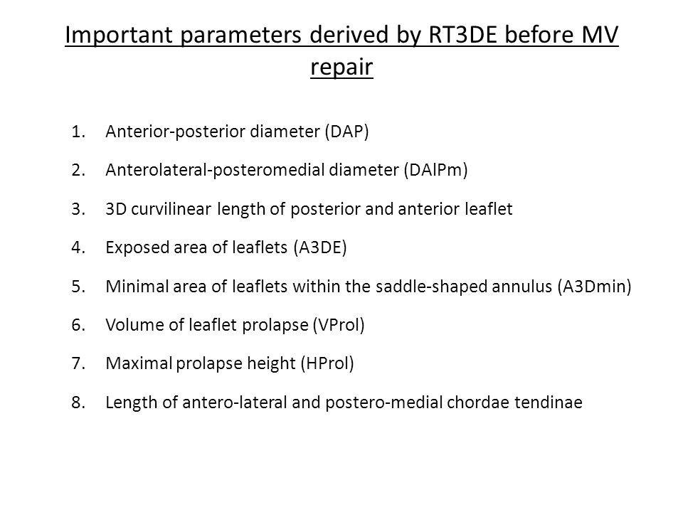 Important parameters derived by RT3DE before MV repair 1.Anterior-posterior diameter (DAP) 2.Anterolateral-posteromedial diameter (DAlPm) 3.3D curvili