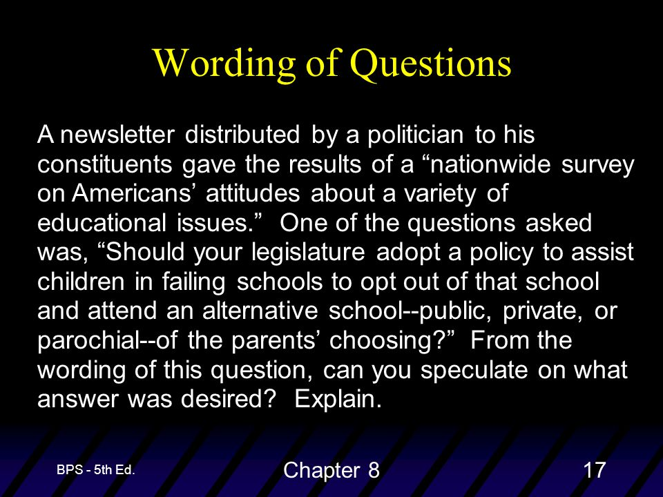 "BPS - 5th Ed. Chapter 817 Wording of Questions A newsletter distributed by a politician to his constituents gave the results of a ""nationwide survey o"