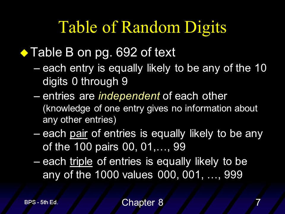 BPS - 5th Ed. Chapter 87 Table of Random Digits u Table B on pg. 692 of text –each entry is equally likely to be any of the 10 digits 0 through 9 –ent