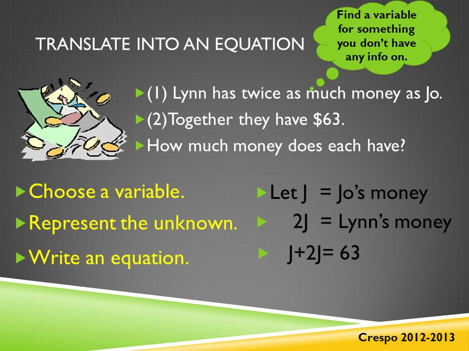 TRANSLATE INTO AN EQUATION  (1) Lynn has twice as much money as Jo.