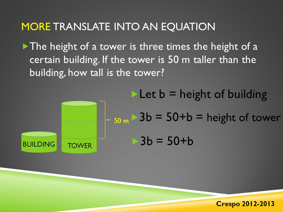 MORE TRANSLATE INTO AN EQUATION  The height of a tower is three times the height of a certain building.