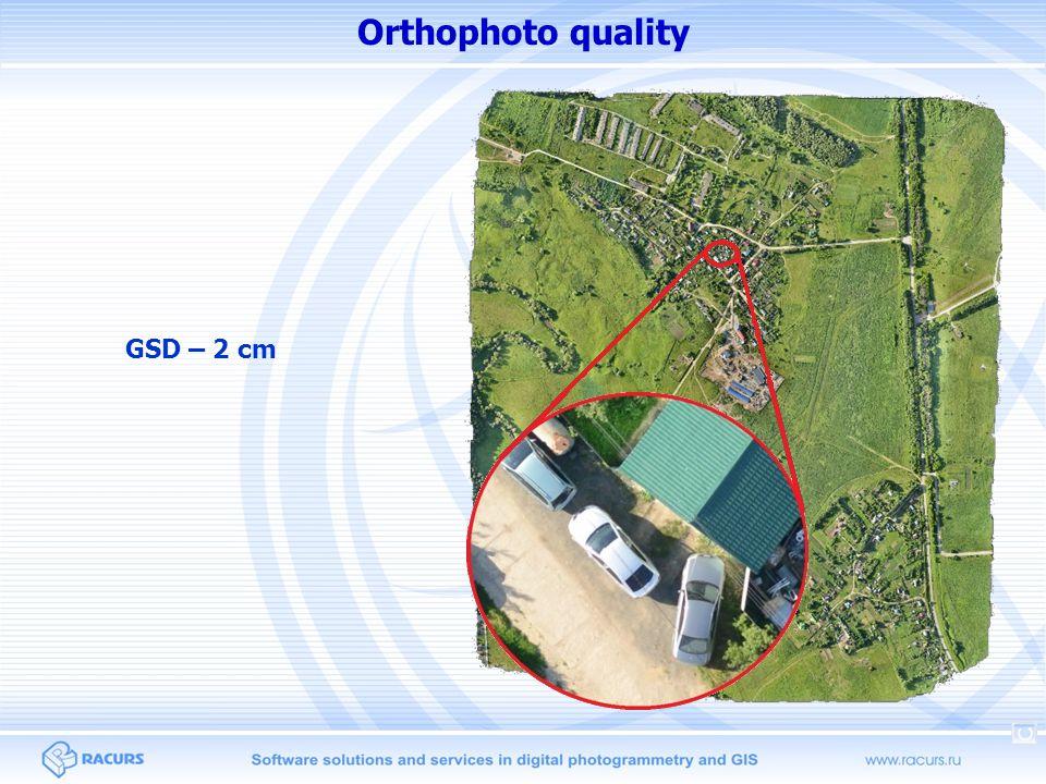 Orthophoto quality GSD – 2 cm