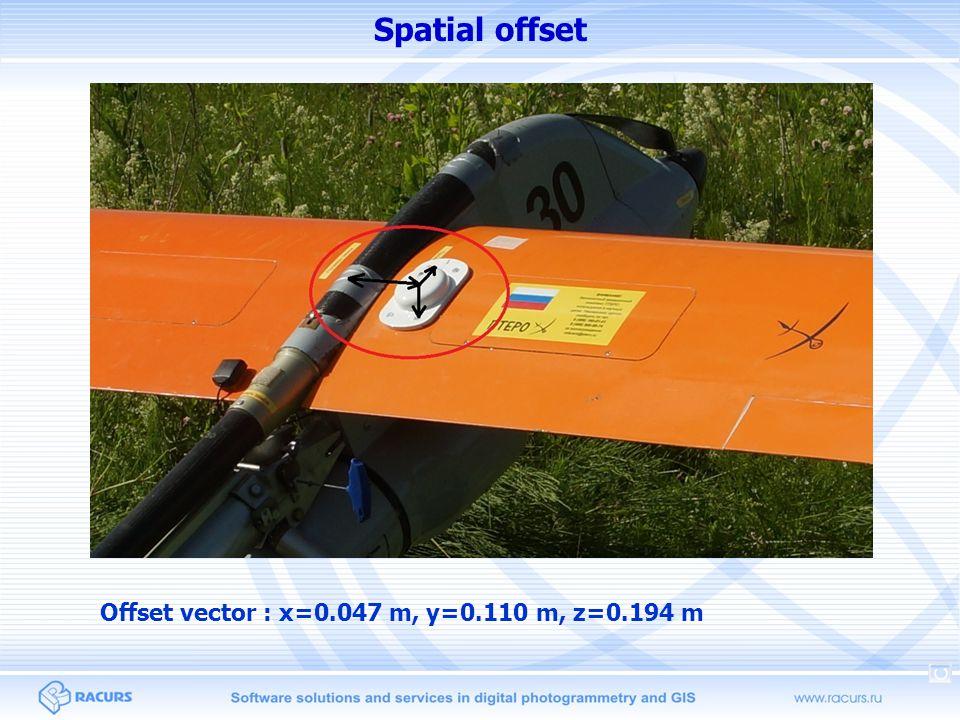 Spatial offset Offset vector : x=0.047 m, y=0.110 m, z=0.194 m