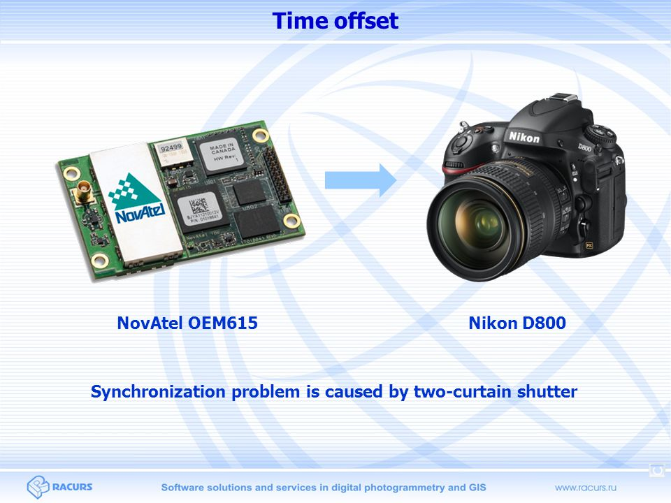 Time offset Nikon D800NovAtel OEM615 Synchronization problem is caused by two-curtain shutter