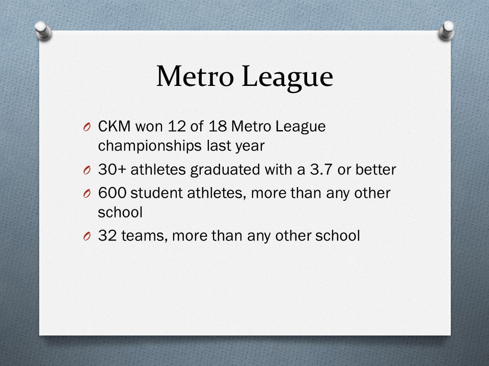 Metro League O CKM won 12 of 18 Metro League championships last year O 30+ athletes graduated with a 3.7 or better O 600 student athletes, more than a