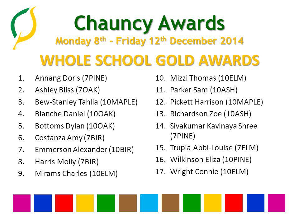 Chauncy Awards Monday 8 th - Friday 12 th December 2014 YEAR THIRTEEN SILVER AWARDS