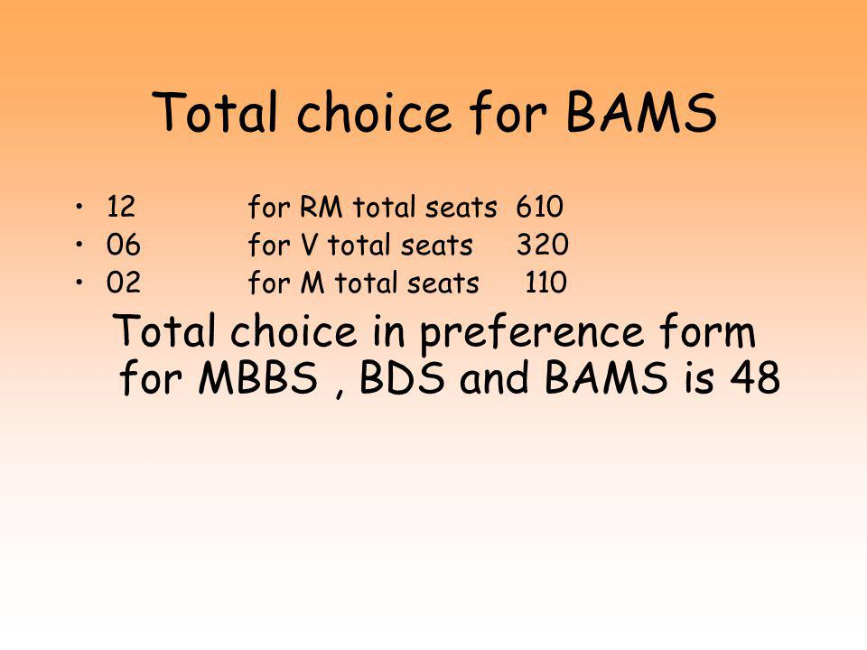 Total choice for BDS 2 + 1 for RM total seats 160 + 100 1 for V total seats 40 1 + 1 for M total seats 40 + 100 Total choice in preference form for MBBS and BDS is 22 + 6 = 28