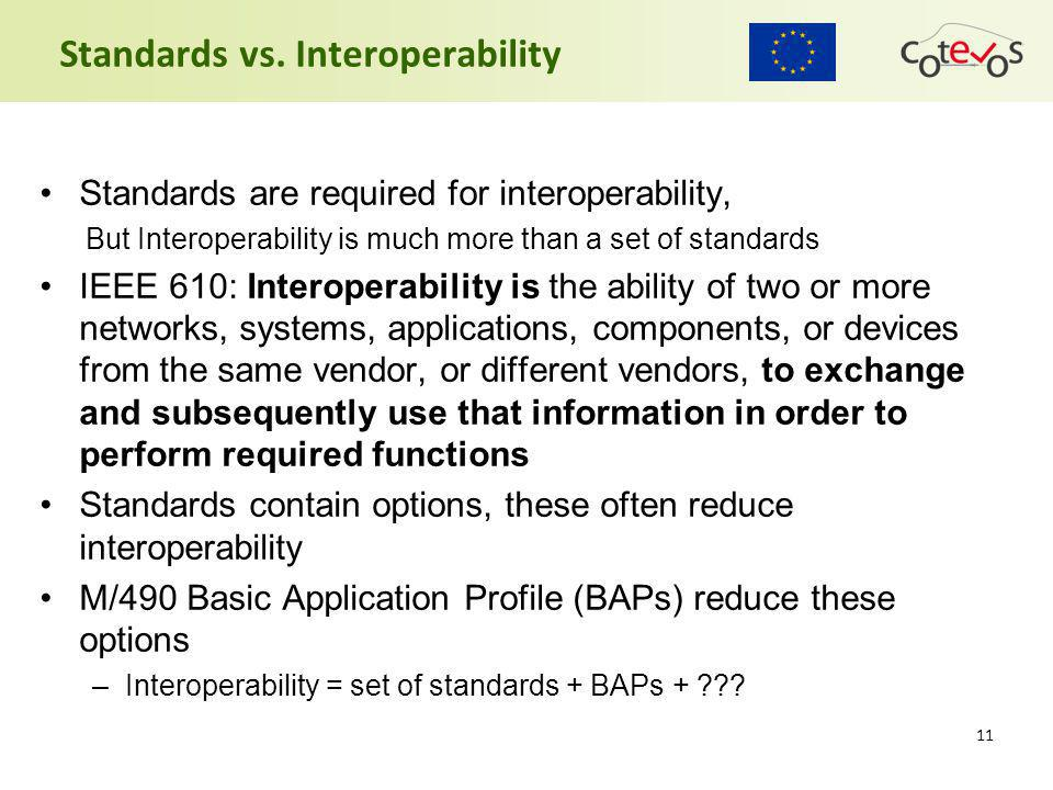 11 Standards vs. Interoperability Standards are required for interoperability, But Interoperability is much more than a set of standards IEEE 610: Int