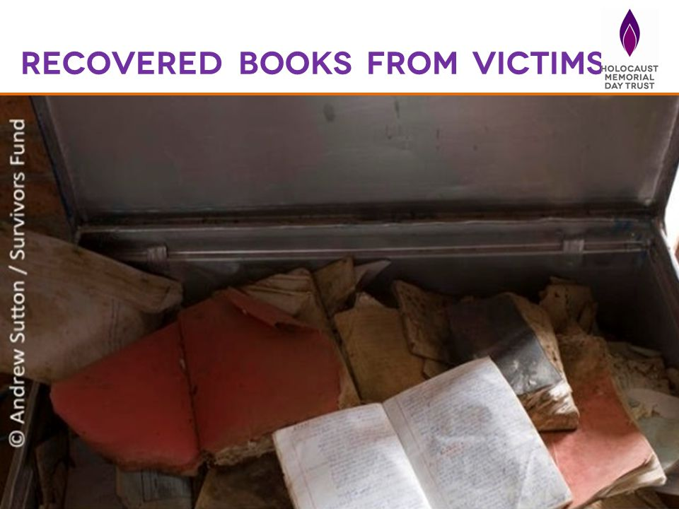 Recovered books from victims