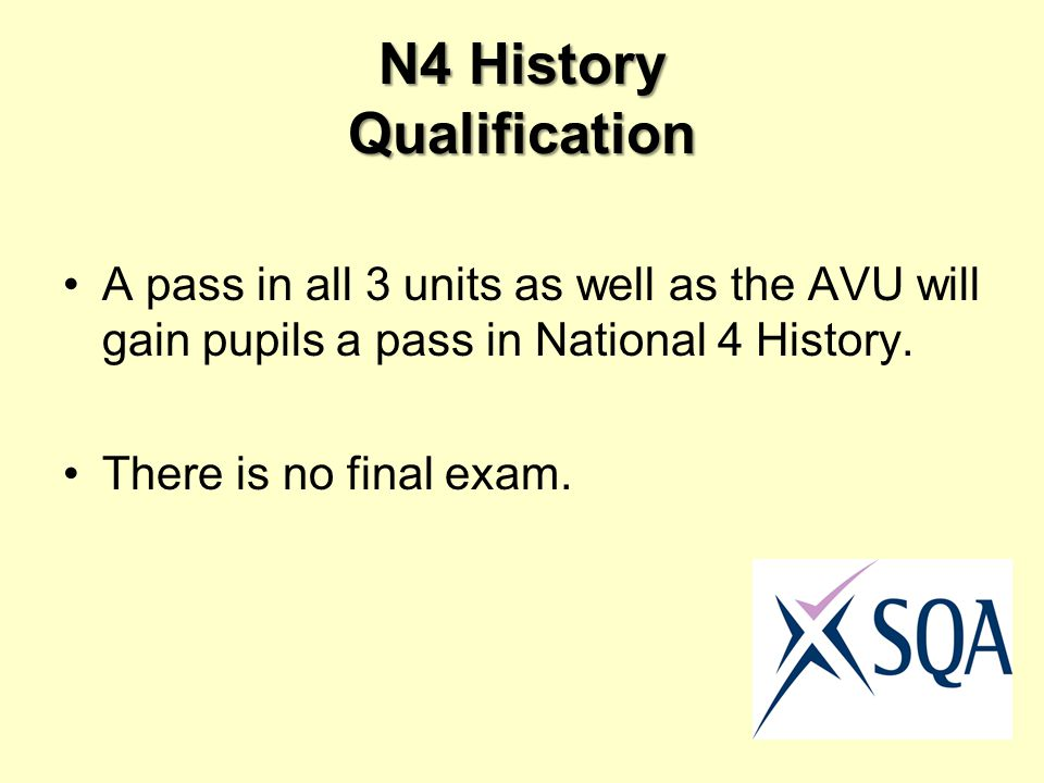 N4 History Qualification A pass in all 3 units as well as the AVU will gain pupils a pass in National 4 History.