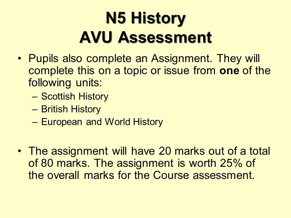 N5 History AVU Assessment Pupils also complete an Assignment.