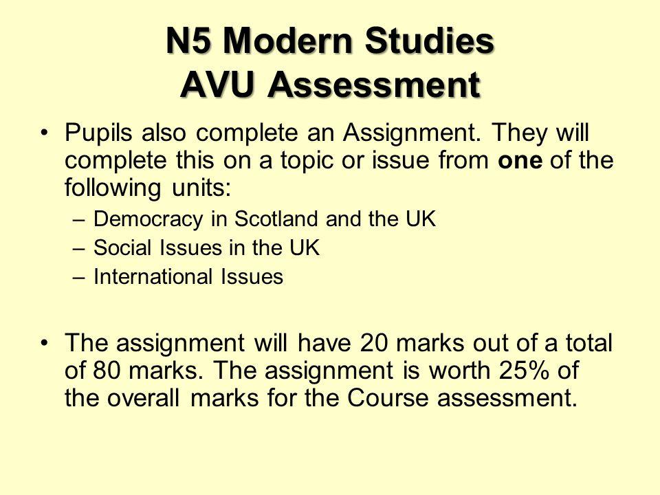 N5 Modern Studies AVU Assessment Pupils also complete an Assignment.
