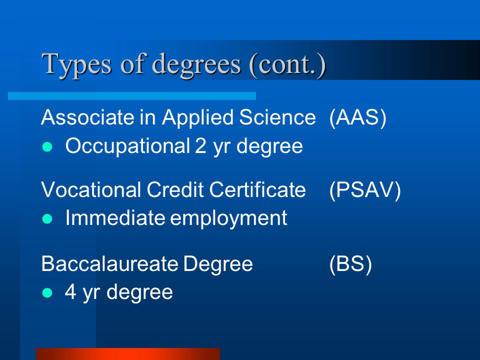Types of degrees (cont.) Associate in Applied Science(AAS) Occupational 2 yr degree Vocational Credit Certificate(PSAV) Immediate employment Baccalaur