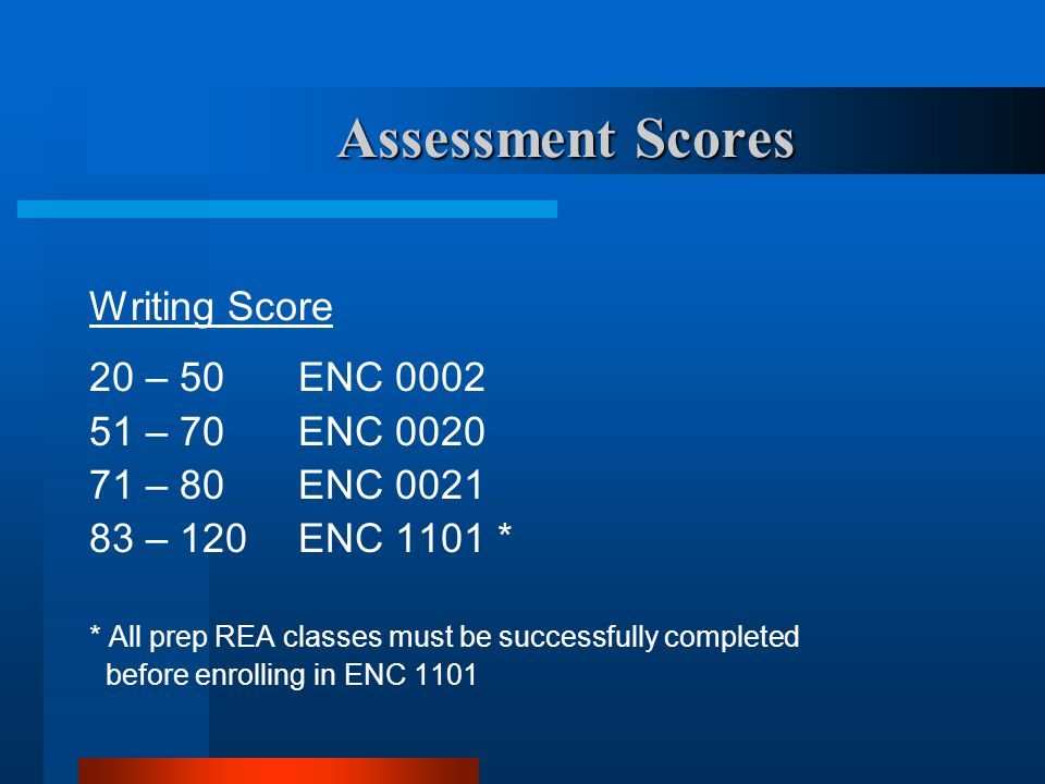 Assessment Scores Writing Score 20 – 50 ENC 0002 51 – 70ENC 0020 71 – 80ENC 0021 83 – 120ENC 1101 * * All prep REA classes must be successfully comple