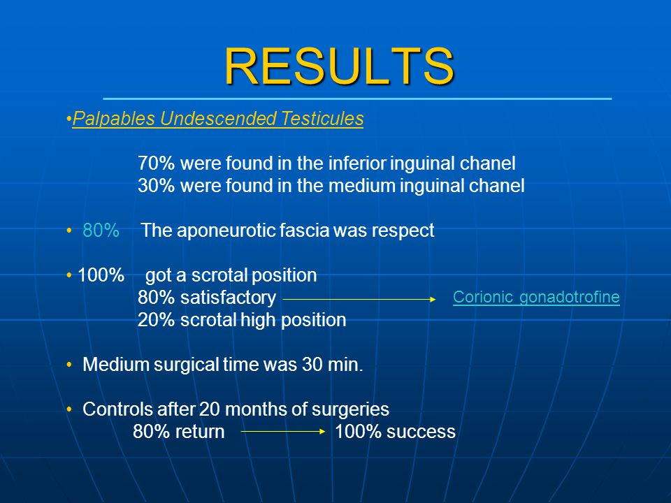 RESULTS Palpables Undescended Testicules 70% were found in the inferior inguinal chanel 30% were found in the medium inguinal chanel 80% The aponeurot